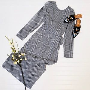 ASOS Buffalo Check V Back Long Sleeved Dress
